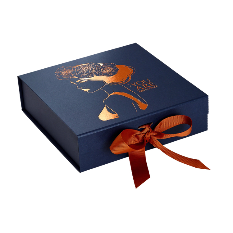 Wholesale Customized Collapsible Magnetic Gift Box with Hot Foil Stamping Logo and Changeable Ribbon