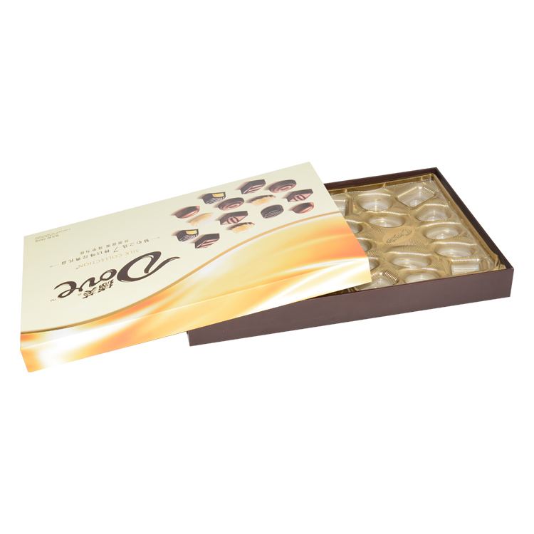 Custom Rigid Cardboard Two Pieces Gift Boxes for Chocolate Packaging with Plastic Dividers from China Factory