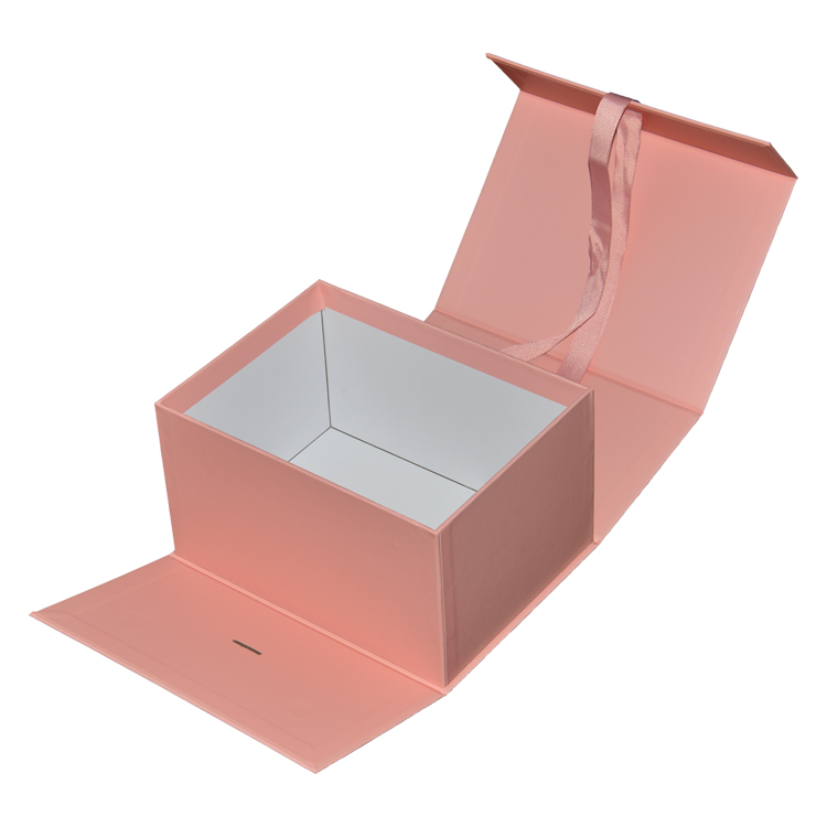 Pink Flip Top Boxes with Magnetic Catch and Changeable Silk Ribbon for Cosmetics Packaging from Shenzhen Manufacturer
