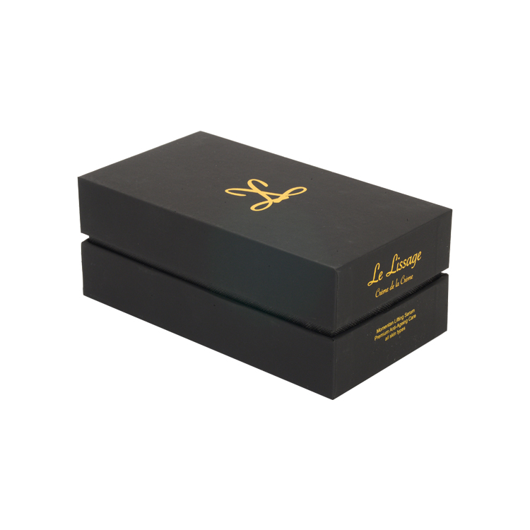 Customized Lid and Base Packaging Shoulder Neck Gift Box for Cosmetic Packaging with Gold Hot Foil Logo and Velvet Foam Holder