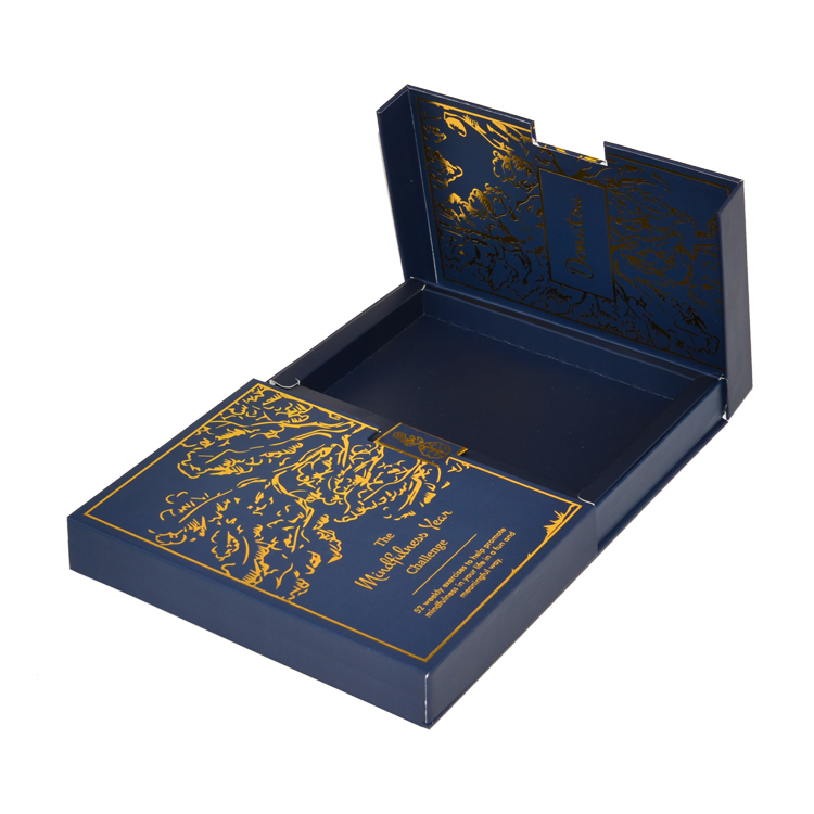 Customized Design Luxury Two Door Open Rigid Paper Gift Box for Cosmetic Makeup Packaging Box with Gold Hot Stamping Patterns
