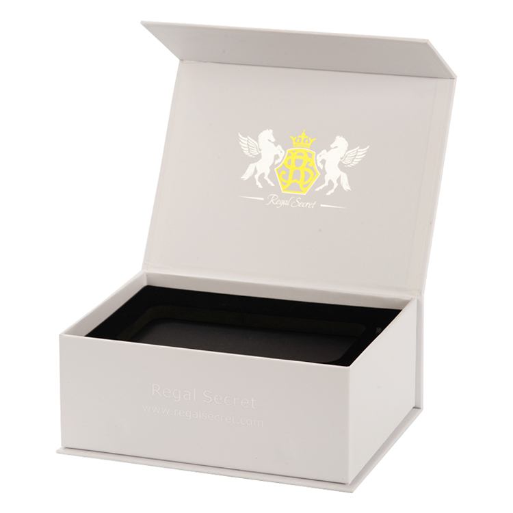 Flap Lid Packaging Cardboard Bespoke Custom Magnetic Closure Gift Box for Wristwatch with Gold Foiled Logo and Velvet Foam Holder