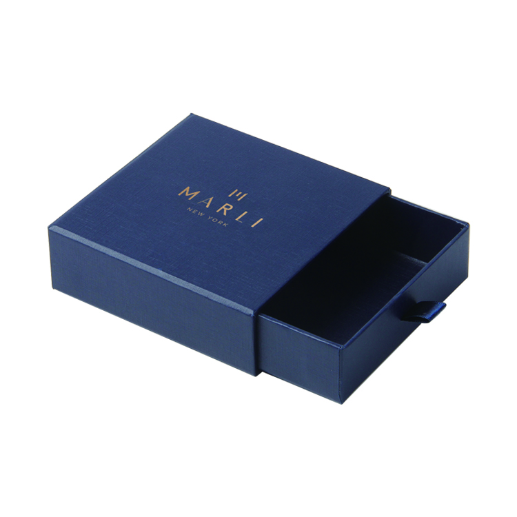 Custom Navy Blue Drawer Box Jewelry Gift Box Stamping Foil Logo Packaging Earring Ring Necklace Box with Velvet foam