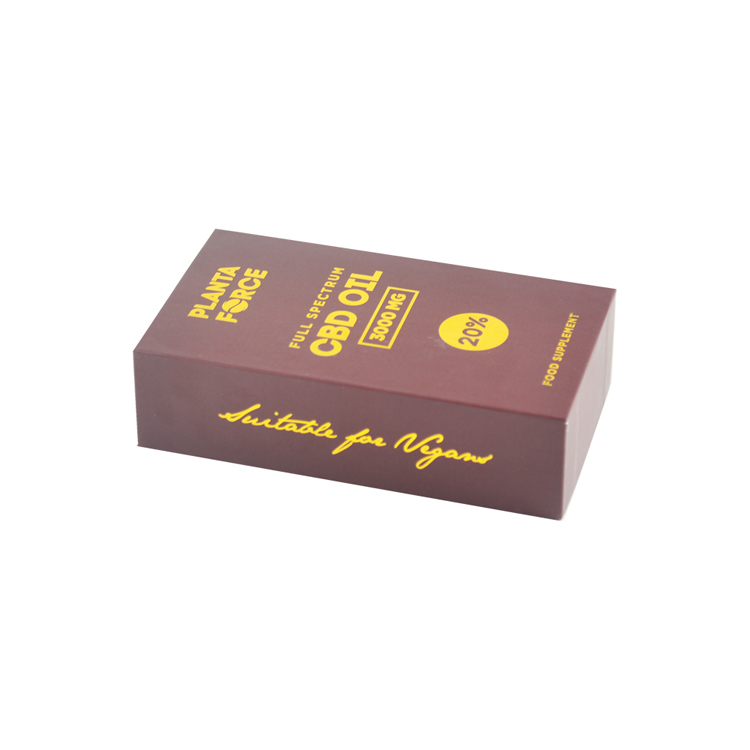 Custom Lid and Base Gift Box with Logo Gold Stamping and Rigid Paper Packaging EVA Insert for CBD Oil