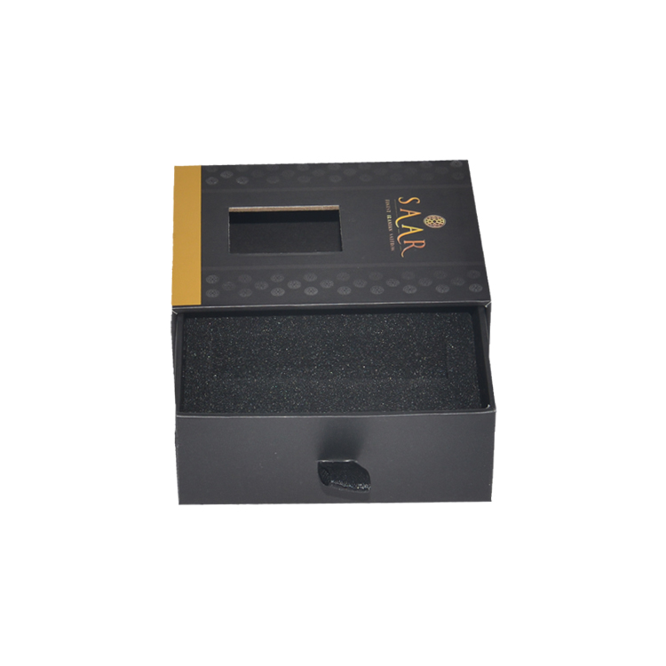 Custom Logo Luxury Rigid Paper Sliding Drawer Gift Boxes for CBD Oil Packaging with Foam Holder and Clear Window