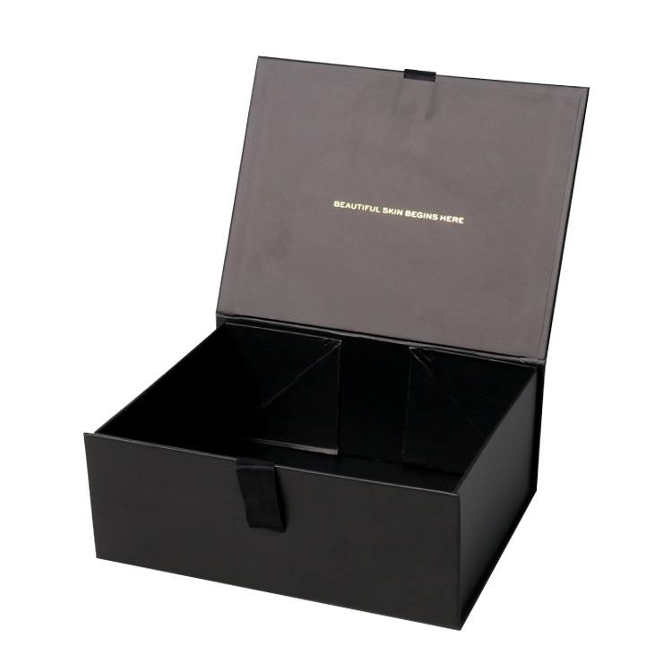 Custom Foldable Rigid Setup Magnetic Boxes with Flip Top Lid Closure with Silk Ribbon and Gold Hot Foil Logo