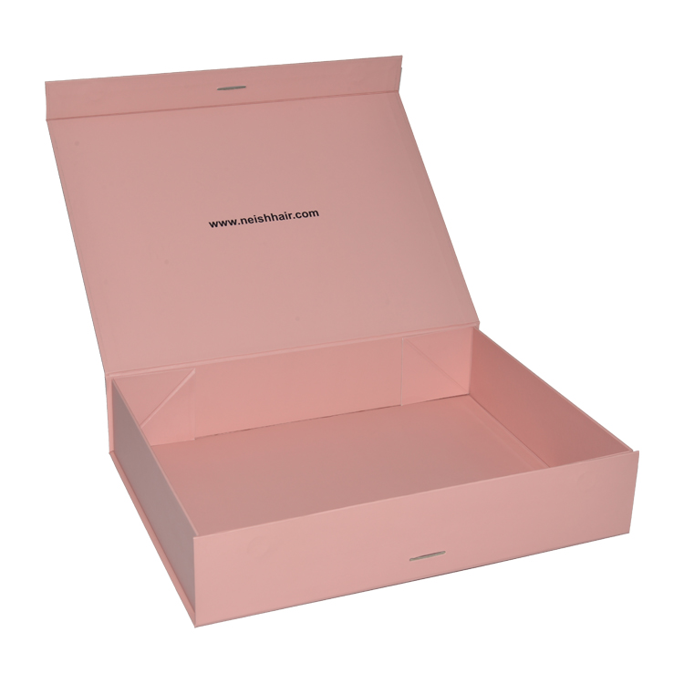 Custom Foldable Collapsible Pink Magnetic Hair Extension Wigs Gift Box with Silk Ribbon and Foil Stamping Logo