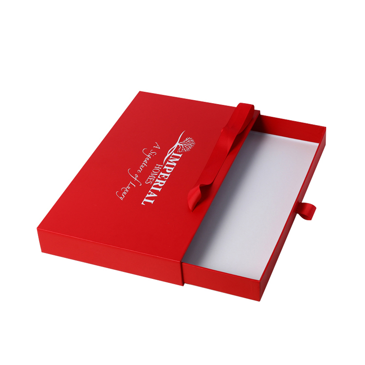Red Customized Designed Paper Drawer Box with Gold Hot Stamping Logo and Ribbon Handle for Hotel Souvenir Packaging