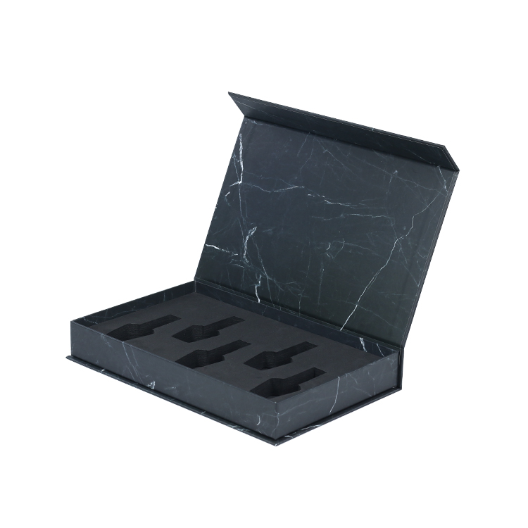 Wholesale Black Marble Magnetic Box for Nail Polish Packaging Boxes with Customized Logo and EVA Foam Holder
