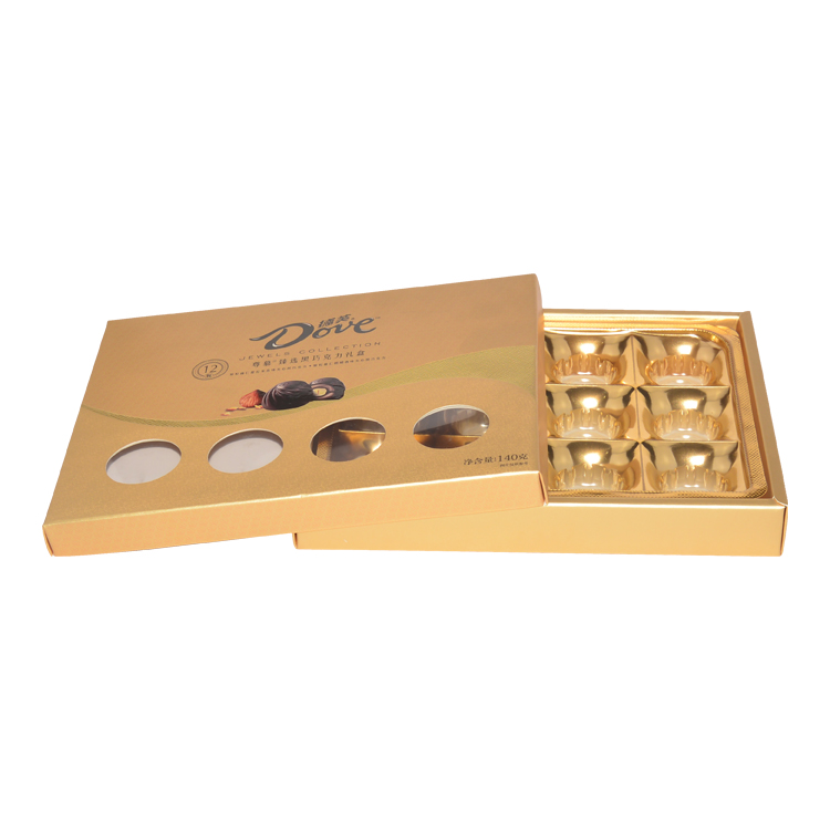 Custom Luxury Cardboard Gold Lid and Base Gift Box for Chocolate Paper Packaging with Plastic Dividers
