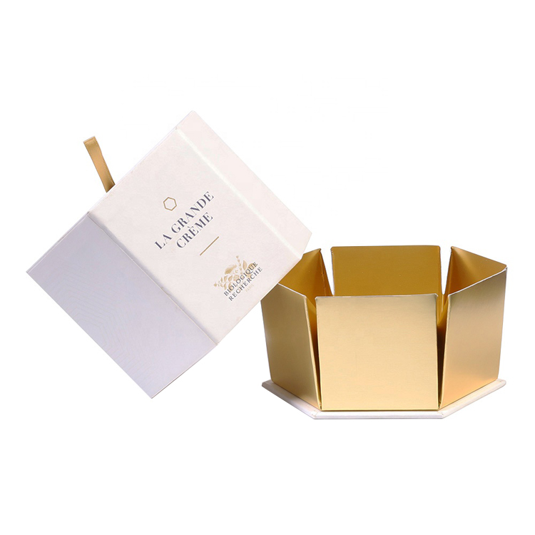 Custom Paper Gold Cardboard Gold Cosmetic Hexagon Box Paper Hexagonal Gift Box for Skin Care Silk Ribbon