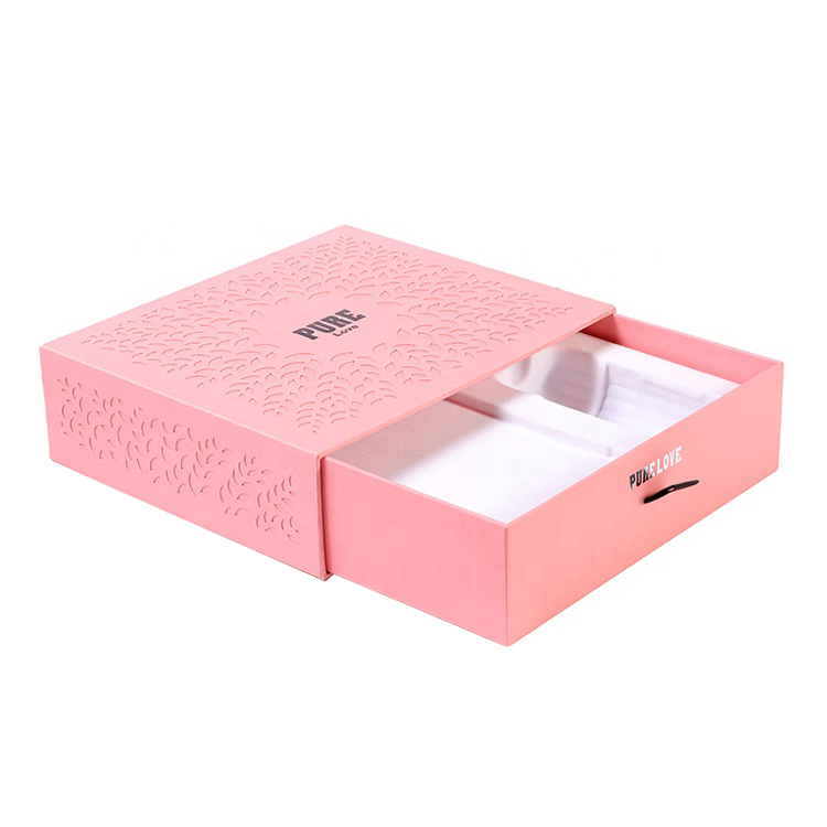 Customized Blush Pink Paper Cosmetics Packaging Cardboard Sliding Drawer Box with Silver Foil Stamped Logo and Plastic Holder