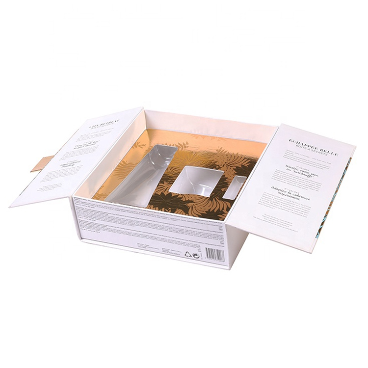 Custom Double Door Gift Packaging Paper Box Slide Open Gift Box with Plastic Holder for Cosmetic Packaging