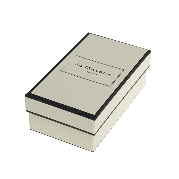 Luxury Textured Lid and Base Boxes Black Edge Printed with Cardboard Holder and Silk Ribbon for Perfume Packaging