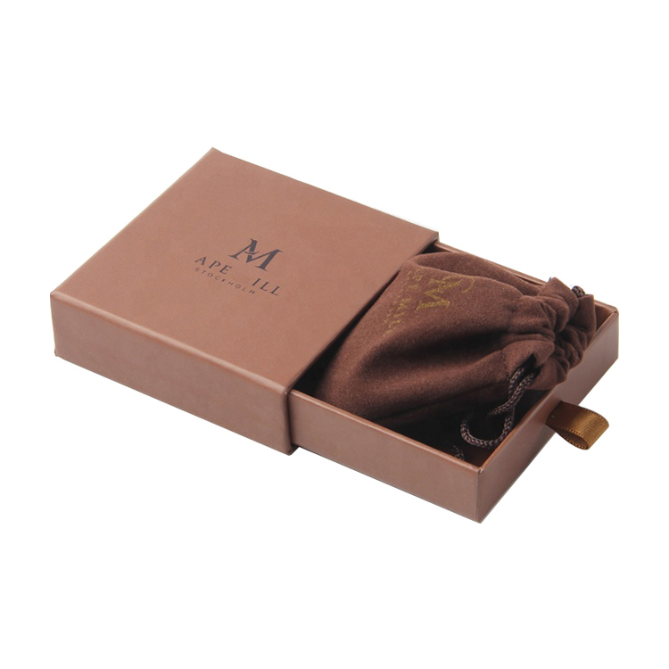 Wholesale Custom Logo Paper Cardboard Sliding Drawer Box with Velvet Jewelry Pouch