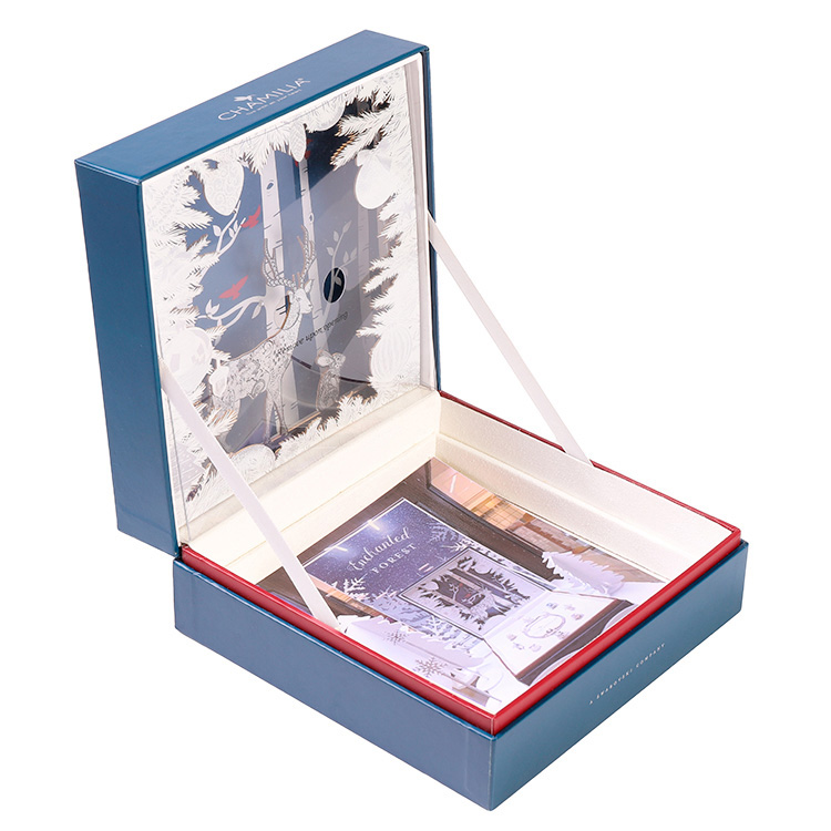 Custom Made Rigid Setup Gift Boxes with Flip Top Lid Closure and Velvet Foam Holder for Cosmetic Packaging