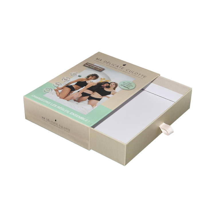 Sliding Drawer Shipping Paper Gift Box for Women Underwear Packaging with Silk Handle