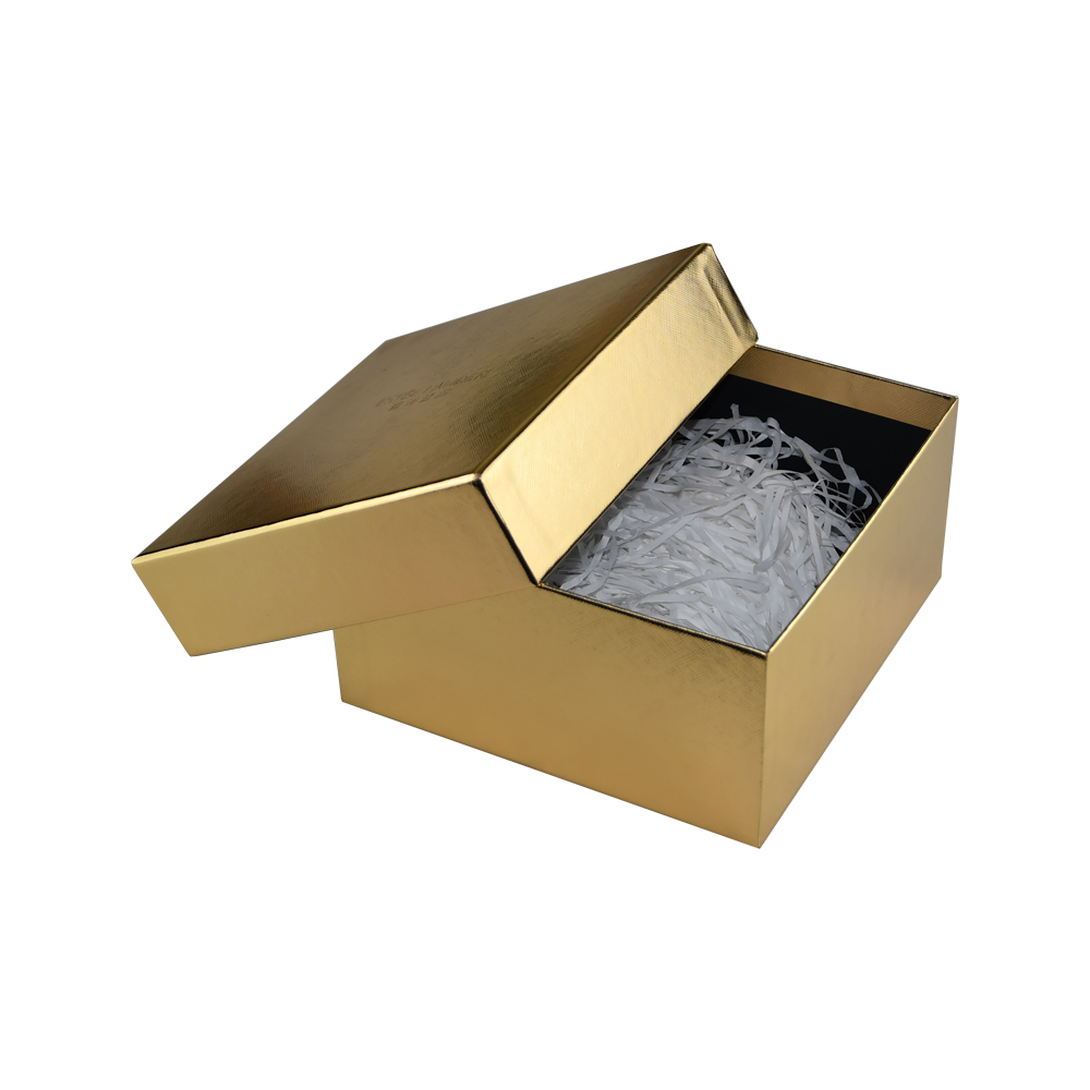 Custom Printed Gold Cardboard Gift Boxes with White Shredded Paper Tray and Debossed Logo